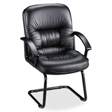 "Exec guest chair, 25-3/4""x28-1/4""x40-1/4"", black leather, sold as 1 each"