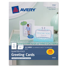 "Quarter-fold card, 4-1/4""x5-1/2"", 20 cards/env, white, sold as 1 package"