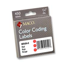 Maco 1/4 Permanent Adhesive Color Coding Labels
