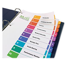Avery Ready Index Table of Contents Ref. Dividers