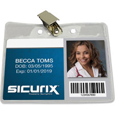 "Vinyl badge holder,clip,horizontal,4""x3"",50/pk, cl, sold as 1 package, 25 each per package"