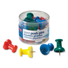"Giant pushpins, 1-1/2"",12/pk, clear tub, assorted, sold as 1 package, 100 each per package"