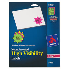 Avery Neon High Visibility Laser-Burst Labels