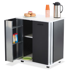 "Refreshment cart, 2 door, 29-1/2""x22-3/4""x33-1/4"", black/we, sold as 1 each"