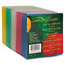 """Cd jewel case,extra thin,5""""x5""""x5/32"""",50/pk,assorted, sold as 1 package"""