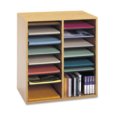 "Safco 16 Compartments Adjustable Shelves Literature Organizer - 21"" x 19.5"" x 11.75"" - 16 Compartment(s) - Wood"