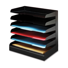 Desktop organizer, 4 tier, legal, horizontal, black, sold as 1 each