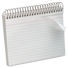 "Spiral bound index cards,ruled,perforated,5""x8"",white, sold as 1 each, 50 carat per each"