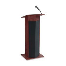 "Oklahoma Sound Power Plus Sound Lectern - Rectangle - 17"" x 22"" x 46"" - Wood - Mahogany"