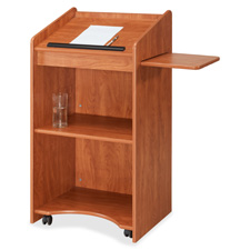 "Oklahoma Sound Aristocrat Floor Lectern/AV Stand - Rectangle - 2 Shelf25"" x 46"" - Wood - Mahogany"