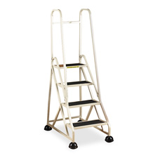 "4-step ladder, w/ 2 handrails, 24-5/8""x33-1/2""x66"", beige, sold as 1 each"