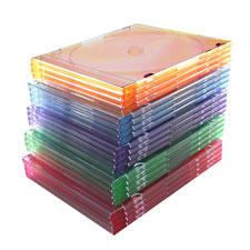 Thin cd/dvd jewel case, one cd w/literature, 100/pk, ast, sold as 1 package, 100 each per package