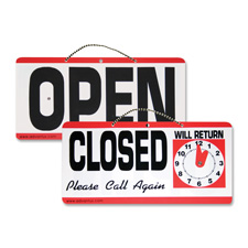 "Open/closed sign w/clock, 11-1/2""x 6"", red/white/black, sold as 1 each, 2 each per each"