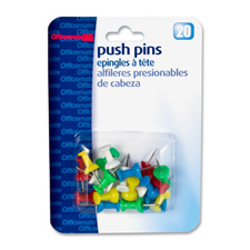 "Pushpins, plastic, assorted colors, head 1/2"" l, sold as 1 package"