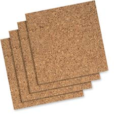 "Cork panels, self-stick, 12""x12"", 4/pk, natural, sold as 1 package, 4 each per package"