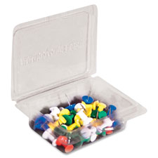 "Pushpin caddy, 40/pk, 3/8"" long, clear tub, 40/pk, assorted, sold as 1 package"