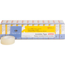 """Invisible tape, 3/4""""x1000"""", 1"""" core, 12/pk, clear, sold as 1 package"""