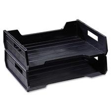Plastic desk tray, side loading, letter-size, 2/pk, black, sold as 1 package, 100 sheet per package