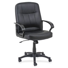 "Managerial mid-back chair,26""x28""x42-1/2"",black leather, sold as 1 each"