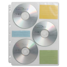 Cd media binder storage pages, 25 refill pages/pk, sold as 1 package, 10 each per package