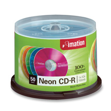 Imation 80 Min Neon Spindle Pack CDs