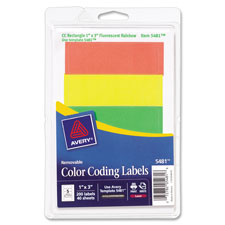 "Removable labels, rectangle, 1""x3"", fluorescent asst., sold as 1 package, 200 each per package"