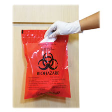 "Biohazard waste bag, peel/stick, 1.4 qt, 9""x10"", 100/bx, rd, sold as 1 box, 100 each per box"