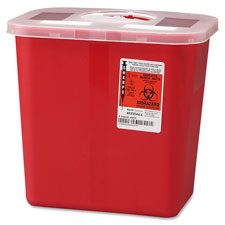 Biohazard sharps container w/ rotor lid, 2 gal., red, sold as 1 each