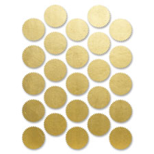 First Base 83430 Imprintable Seals, Pressure Sensitive, 1-3/4'', 200/PK, Gold, FST83430, FST 83430