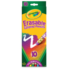 Color pencils, erasable, 10/st, bright colors, sold as 1 package, 240 each per package