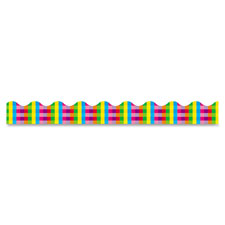 "Bulletin board border, rainbow plaid, 2-1/4""x39"", multi, sold as 1 package"