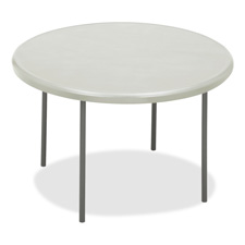 "Iceberg IndestructTable TOO Folding Table - Round x 29"" - 48"" - Steel Polyethylene - Gray Leg"