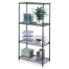 "Safco Industrial Wire Shelving - 36"" x 24"" - Steel - 4 x Shelf(ves) - Leveling Glide -"