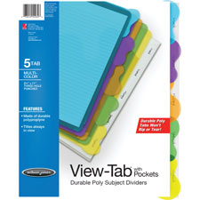 Acco/Wilson Jones 5-Tab Transparent Sub. Dividers