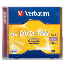 Verbatim 4.7GB Branded DVD+RW Rewritable