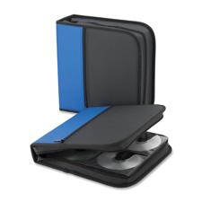 "Cd/dvd wallet,11-1/2""x11-1/2""x2"",128 cap., blue/bk, sold as 1 each"