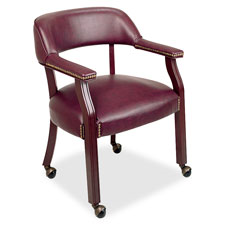 "Captain chair, w/ casters, 26""x24""x30-3/4"", burgundy, sold as 1 each"