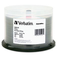Dvd-r, 16x, 4.7gb, spindle, 50/pk, silver, sold as 1 package, 25 each per package