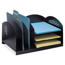 "Steel desk organizer, 16-1/4""x11-1/4""x8-1/4"", black, sold as 1 each"