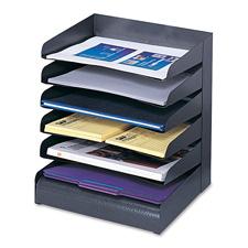 """Steel desk tray sorter, 8-tier, 2""""x9-1/2""""x17-3/4"""",bk, sold as 1 each"""