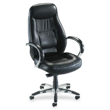 "Exec. hi-back chair, 26-1/2""x29""x45-1/4""to49-1/2"",bk leather, sold as 1 each"
