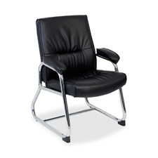 "Guest chair, 24-1/4""x27""x35-3/4"", black leather, sold as 1 each"