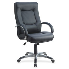 "Exec. high-back chair, 26-1/2x28-1/4x44-1/2""-48"", bk leather, sold as 1 each"