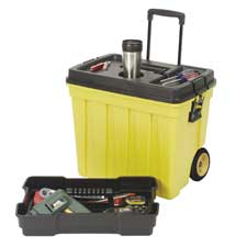 "Mobile workbox,20-1/2 gal cap,23-1/2""x15-1/2""x20-1/4"",yw/bk, sold as 1 each"
