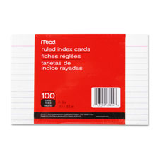 "Index cards, ruled, 4""x6"", 100/pk, white, sold as 1 package"