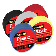"""Colored plastic tape, moisture resistant, 3/4""""x125"""", red, sold as 1 roll"""