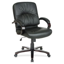 Office Star Wood Base Mid-Back Leather Chair
