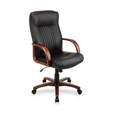 Office Star Executive High Back Wood Leather Chair