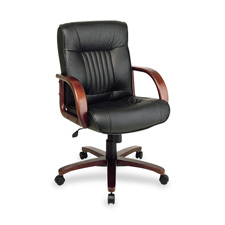 Office Star Managerial Mid-Back Wood Leather Chair