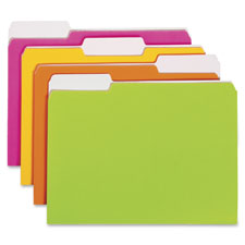 File folder, letter, 1/3 tab, neon colors, sold as 1 package, 12 each per package